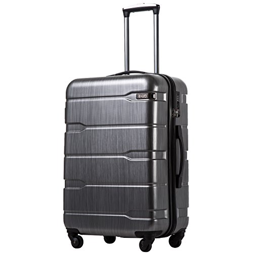 COOLIFE Luggage Expandable(only 28') Suitcase PC+ABS Spinner Built-in TSA Lock 20in 24in 28in Carry on (Charcoal, L(28in).)