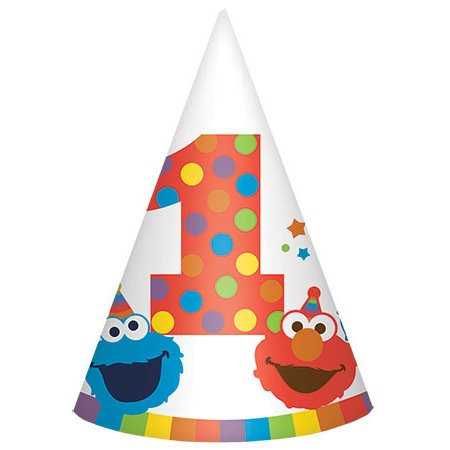 Party Hat Cookie - Sesame Street 1st Birthday 'Elmo Turns One' Cone Hats (8ct)