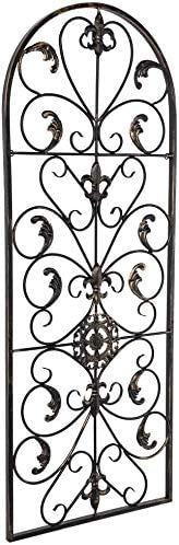 KCHEX Arched Wrought Black Iron Wall Art Sculpture Vintage Tuscan Indoor Outdoor Gate Decor