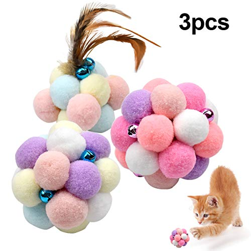 Natuce 3PCS 8.5CM Katze Spielzeug Bälle mit Bell, Feder Elastischer Ball, Bunte Pompom, Flauschigen Plüsch Bälle, Bommel…