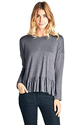 12 Ami Peplum Thermal Knit Long Sleeve Top - Made in USA