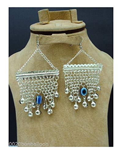 Belly Dance Egyptian Egypt Metal Beads Bead Oriental Earring Dangle Dancing Blue Evil Eye Jewelry Gypsy HandMade Ethnic Tribal 110
