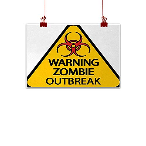Sunset glow Wall Painting Prints Zombie,Warning The Zombie Outbreak Sign Cemetery Infection Halloween Graphic,Earth Yellow Red Black 36