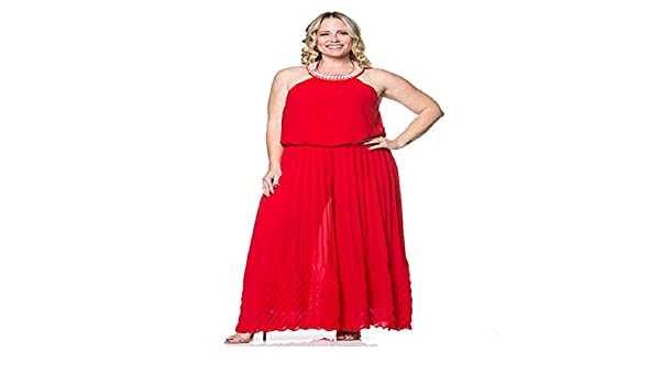 521211132c29 Amazon.com  Womens Plus Size Flare Wide Leg Bolero Holiday Red Jumpsuit  with Pearls On The Neck Line Size 1X  Clothing