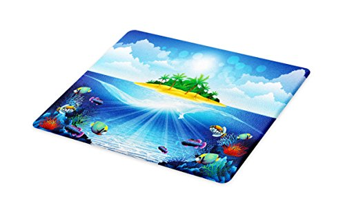 Lunarable Aquarium Cutting Board, Deserted Tropical Island with Palm Trees Various Exotic Sea Animals and Plants, Decorative Tempered Glass Cutting and Serving Board, Large Size, (Aquarium Tempered Glass)