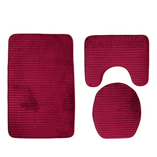 Pebbles Embossing - Zhao Xiemao-Home Toilet Rug Mats Set 3D Pebble Embossing 3 Piece Bathroom Set Mat Rug Non-Slip Contour Rug Toilet Lid Cover and Bath Mat 3 Piece for Bathroom Non Slip Bath Mat (Color : Burgundy)