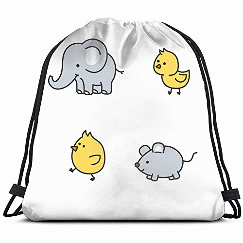 Cute Elephant Mice Little Chickens Cartoons Animals Wildlife Nature Drawstring Backpack, Bag for Sport Outdoor Travel Beach Hiking