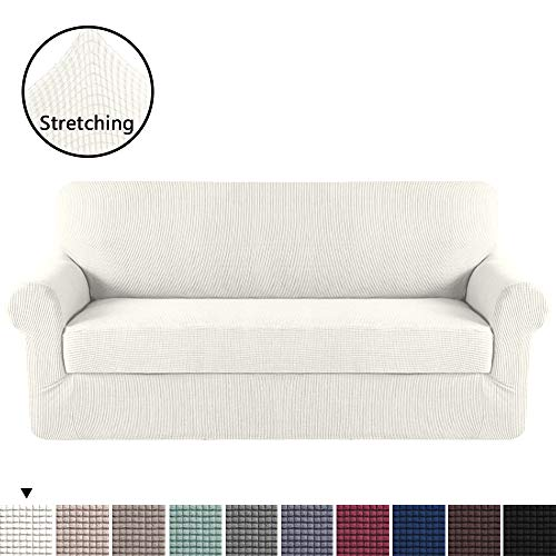 Sofa Microfiber White - H.VERSAILTEX White Color 2-Piece Spandex Stretch Sofa Slipcover for XL Sofa, Anti-Slip Foams, Machine Washable Furniture Protector Sofa Covers for Living Room