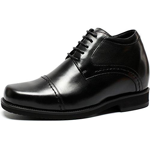 CHAMARIPA Aufzug Männer Schuhe Höhe Zunehmende Leder Schnürung Schwarz Invisible Heel Schuhe Teller 3,94 inch-H71V19K021D Black
