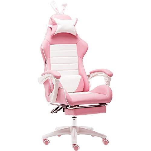 Aigrun Gaming Chair Silla de Escritorio ergonomica giratoria para PC Silla de Escritorio Sillas para computadora Reclinable Resistente Respaldo Alto Corazon Femenino Pink-