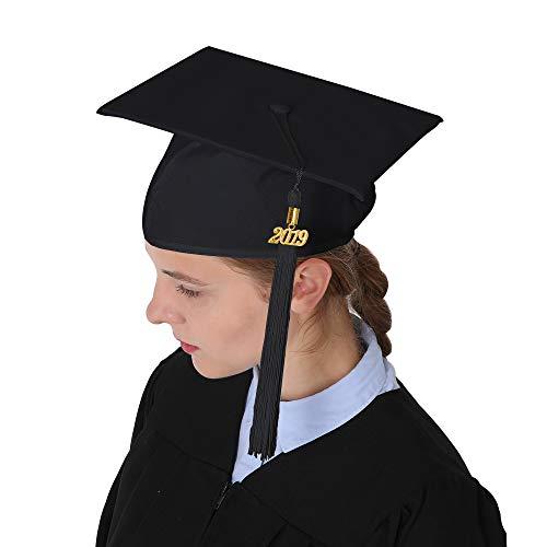 aa07312c1d4 GraduationMall Unisex Adult Matte Graduation Cap with 2019 Tassel Black