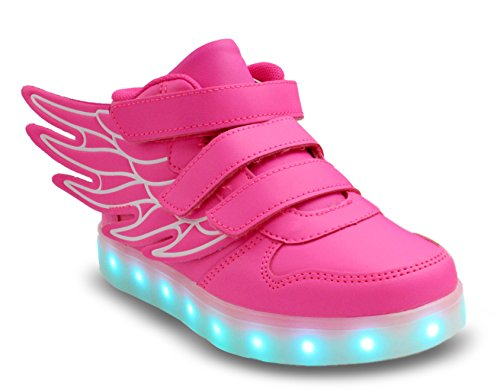 Galaxy LED Shoes Light Up USB Charging High Top Wings Kids Sneakers (Pink) 11.5