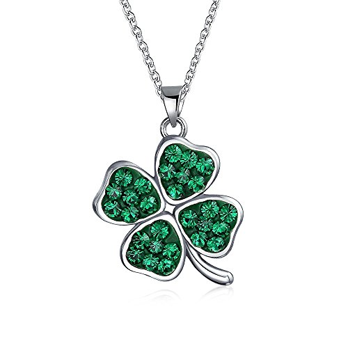 Green Crystal 4 Leaf Clover Pendant Sterling Silver Necklace 16 Inches