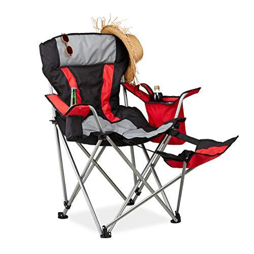 Relaxdays campingstoel met voetsteun, opklapbare visstoel met bekerhouder & koeltas, tot 150 kg, zwart-rood