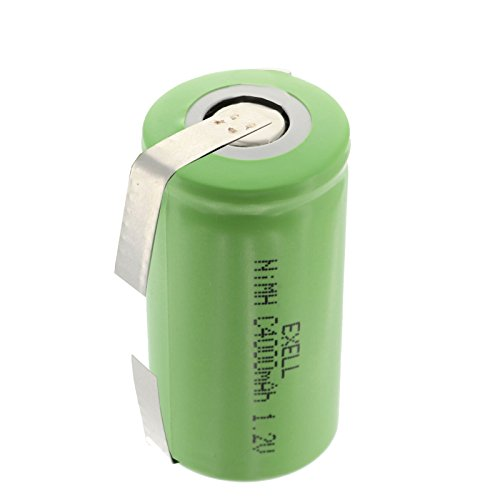Exell 1.2V 4000mAh NiMH C Size Rechargeable Battery w/Tabs for use with high power static applications (Telecoms UPS and Smart grid) radio controlled devices electric tools electric mopeds USA SHIP