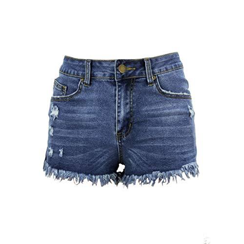 Duseedik Women's Short Jeans Summer Mid Rise Hot Shorts Frayed Raw Hem Ripped Denim Jean Shorts Blue