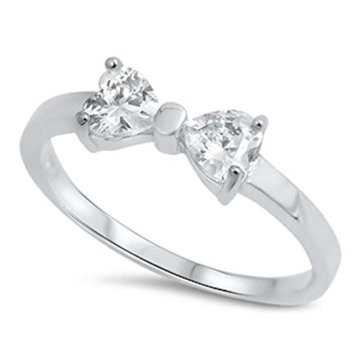 Heart Cubic Zirconia Ribbon Bow .925 Sterling Silver Ring Size 8