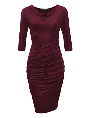 Come Together California CTC WDR1185 Womens Cowl Neck 3/4 Sleeve Pleated Detail Dress S Wine ()