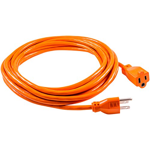 GE 25 Foot Extension Cord, Heavy Duty, 16AWG, Indoor/Outdoor Use, Extra Long Power Cord, UL Listed, Orange, 51924