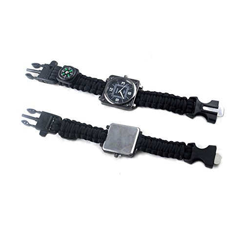 TOPSHION Multifunctional Compass Flint Neutral EDC Outdoor Sports Men's Mechanical Watches Waterproof Watches for Students Umbrella Survival Wristband Outdoor Camping Bracelet