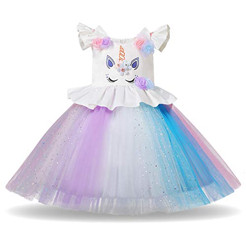 Girls Unicorn Dress up Costume Rainbow Tulle Tutu Skirt with Horn Headband Kids Birthday Outfit for Photo Shoot Cosplay Q# White Sequins Dress 5-6 Years ()