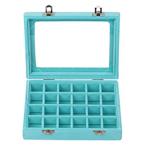 Sky Piea 24 Grid Velvet Glass Jewelry Box Jewellery Organiser Earring Ring Storage Holder Case Box (Sky Blue)