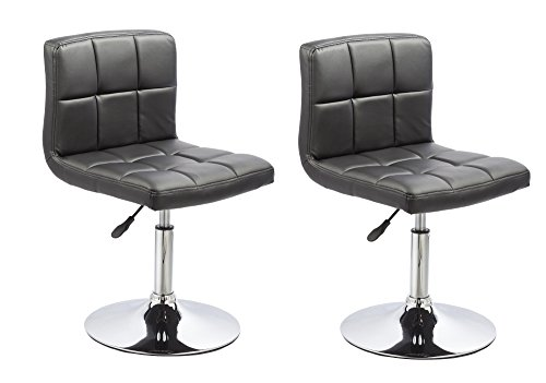 Swivel Dining Room Chairs (Duhome 2 PCS Contemporary Dining Chairs Swivel Height Adjustable PU Leather Restaurant Cafe Bistro Reception Stools 451N (Black))