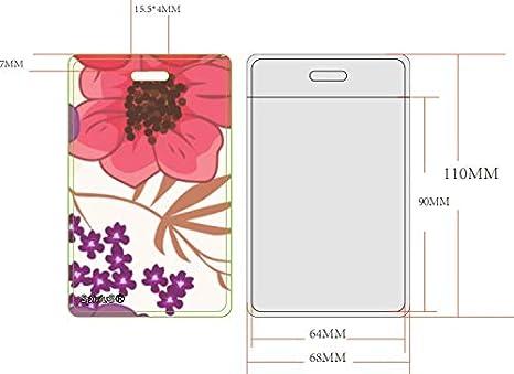 Lani/ère de cou pour porte-carte Motif marguerites Noir Avec clip darr/êt de s/écurit/é retractable flowers style Spirius