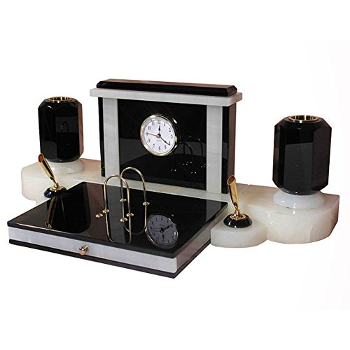 Middle office writing desk set made from obsidian and onyx mixed, made to order, pen holders, clock and paper tray