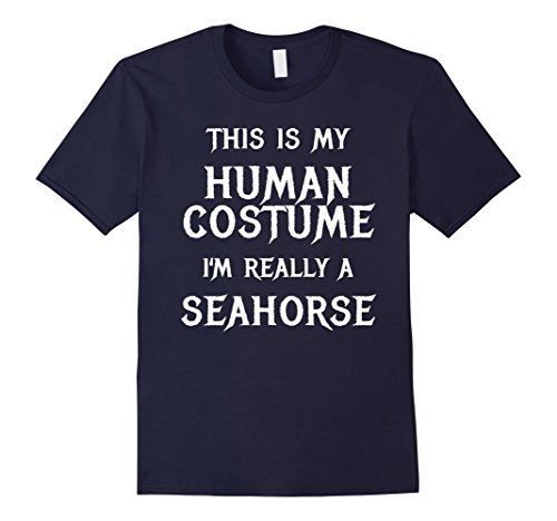 Mens I'm Really a Seahorse Halloween Costume Shirt Easy Funny XL Navy (Seahorse Costume Amazon)