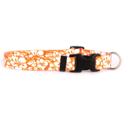 Yellow Dog Design Island Floral Orange Dog Collar Fits Neck 14 To 20