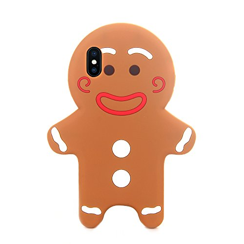 Gingerbread Cookie Soft Silicone Rubberized 3D Cartoon Case for iPhone X iPhoneX 10 Cute Lovely High Fashion Fun Cool Lovely Holiday Xmas for Teens Little Girls Women (Gingerbread Man)