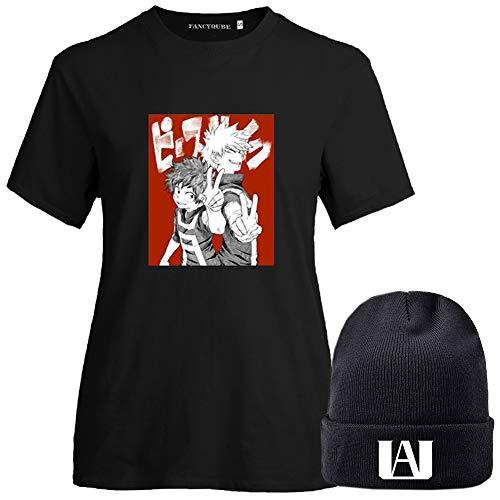 BUBABOX Womens Girls My Hero Academia Izuku Midoriya Bakugo Todoroki Cosplay T-Shirt with Matching Anime Beanie Hats(M A-Black4+Hat)