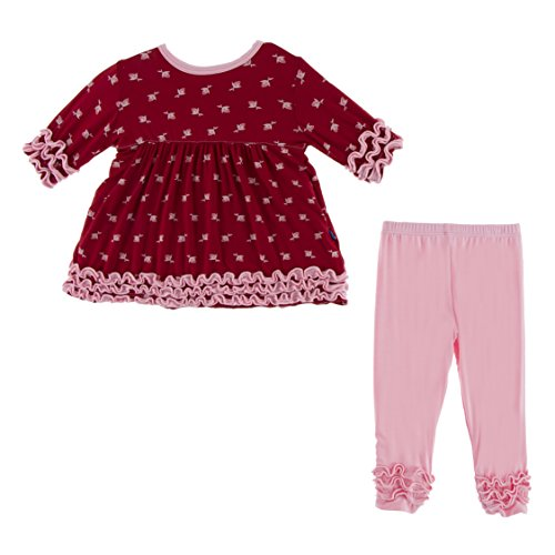 (KicKee Pants Little Girls Long Sleeve Babydoll Outfit Set - Candy Apple Rose Bud, 2T)