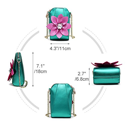 Nice Pies Crossbody Wallet Pouch Purse Shoulder Phone Purse Women PU Leather Flower Cross Body Handbags with Adjustable Strap