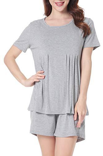 Women Short Sleeve T Shirt and Shorts Pajamas Sleepwear Set Loungewear XL Gray