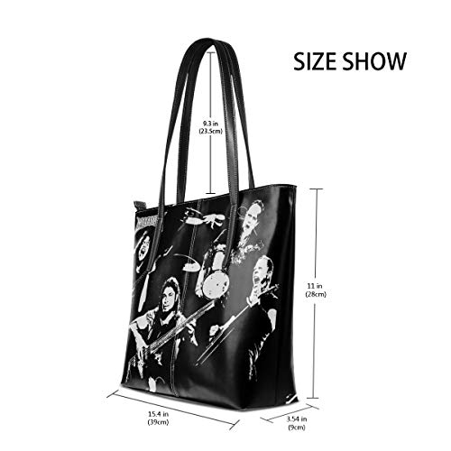 Metallica Fashion Womenâ€TMs Leather Tote Bag Simple Shoulder Handbag For Travel (Best Tms Music Stands)