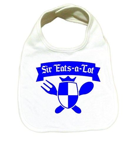 RoyalT Wardrobe Sir Eats A Lot 100% Cotton White Baby Bib blue text