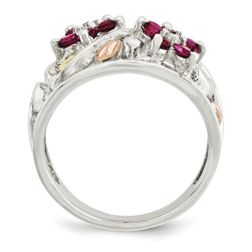 ICE CARATS 925 Sterling Silver 12k Flower Cubic Zirconia Cz Band Ring Size 6.00 Flowers/leaf Fine Jewelry Gift Set For Women Heart by ICE CARATS (Image #3)
