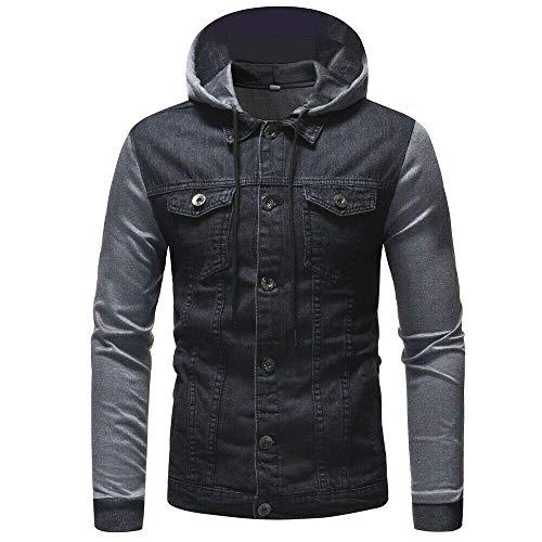 Toimothcn Mens Hooded Jacket Autumn Winter Vintage Distressed
