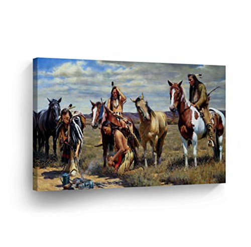SmileArtDesign Indian Wall Art Native Americans Trace Canvas Print Home Decor Decorative Artwork Gallery Wrapped Wood Stretched and Ready to Hang -%100 Handmade in The USA - 24x36