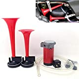DishyKooker Car Air Horn 12V Claxon Moto 135dB Loud Dual Trumpet Compressor Complete Set Auto Parts Motorcycle Fittings Car Accessories