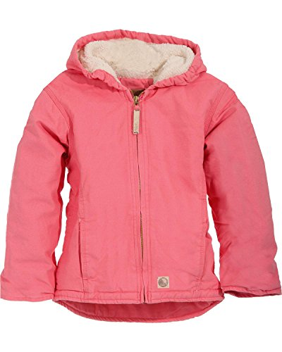 Berne Girls' Washed Sherpa-Lined Hooded Jacket Blush (Berne Apparel Lined Coat)