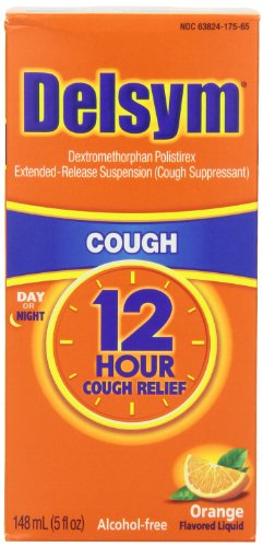 - Delsym Adult 12 Hr Cough Relief Liquid, Orange, 15oz (3X5oz)