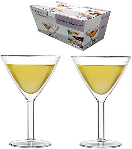 Amlongクリスタル鉛フリー二重壁Martini Glasses、2のセット