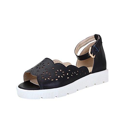 Sandali Da Donna Con Fibbia In Pelle Con Fibbia Alla Caviglia E Fibbia In Pelle Nera
