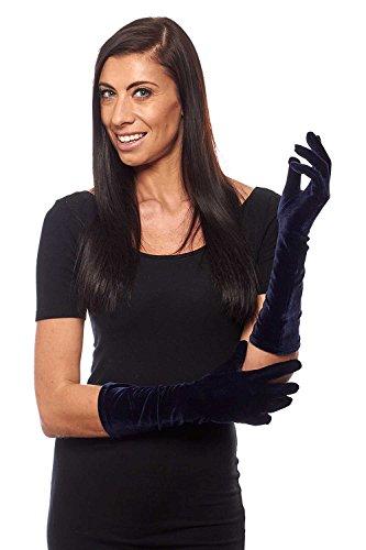 Pin Up Girl Elbow Length Stretch Velvet Gloves, Navy Blue