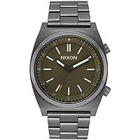 Nixon Brigade Gunmetal/Slate/Orange Men's Classic Field Stainless Steel Smart Watch (40mm. Slate & Orange Face/Gunmetal Stainless Steel Band)