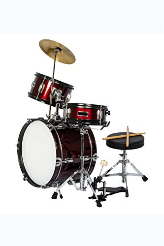 Premium Children's Junior Beginners Wine Red 3 Piece 16 Inch Drum Set with Chair, Sticks, Stool, Adjustable Tuning Key, Pick + Free Lessons