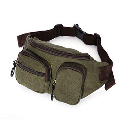 Belt Tasca Canvas Verde Rfid Hip Goodvk Pack Borsa Blocking Money Viaggio  Portatile Marsupio Fanny Da ... 20a2aeb57f0
